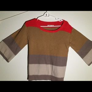 Comfy Soft Red Brown Striped Sweater!